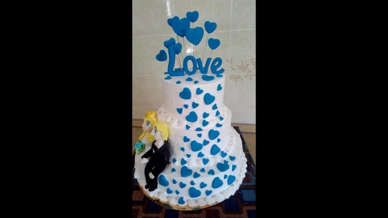 кремовый торт с элементами мастики вес торта 6,5кг