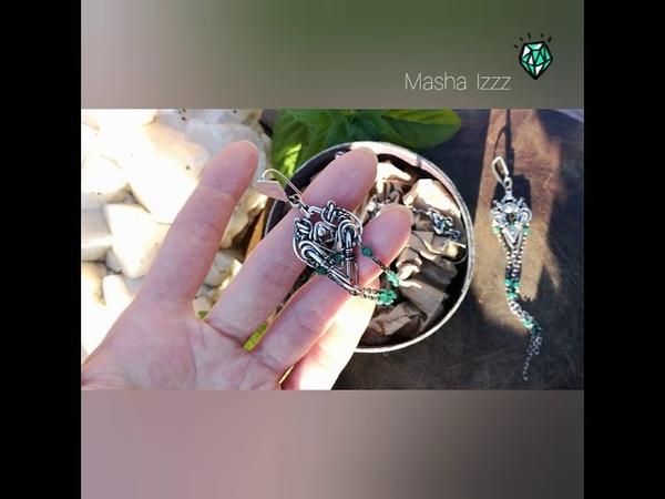 сет - серебряные серьги и кафф Ivy в технике wire wrap