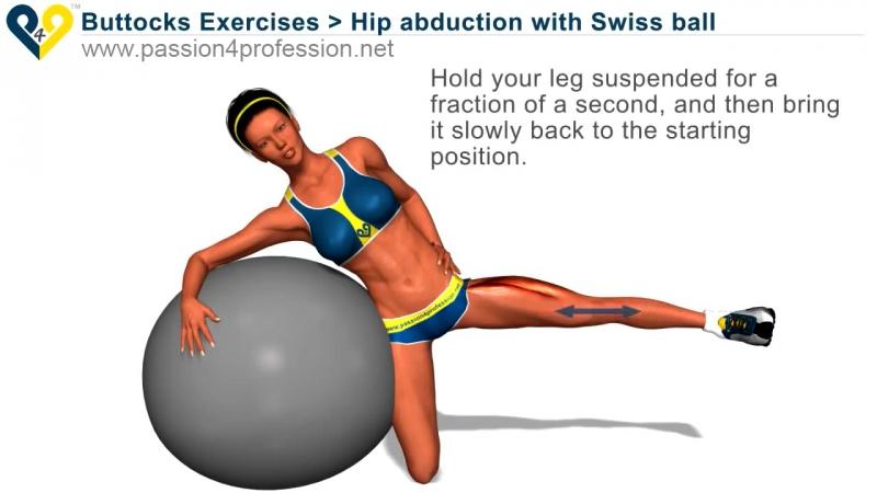 Passion4Profession Упражнение с фитболом на внешнюю часть бедра и ягодичную мышцу