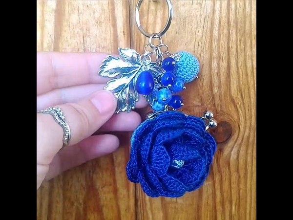Кошелёк-брелок на удачу и прибыль из серии Розовый сад. Синяя роза.