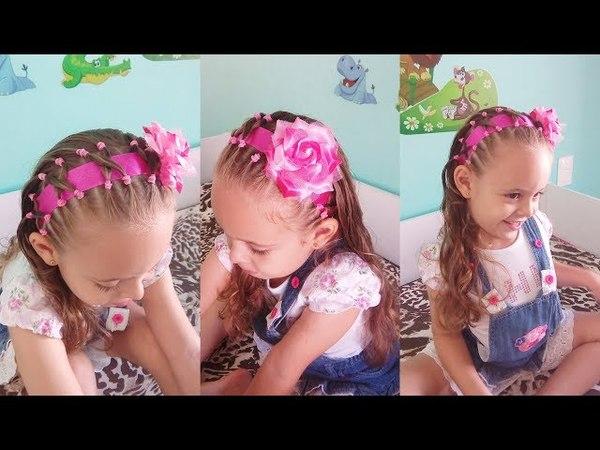 Penteado Infantil tiara com cabelo, ligas, fita e flor