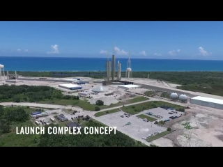 Animation of Blue Origins New Glenn launch pad at the Cape Canaveral Spaceport