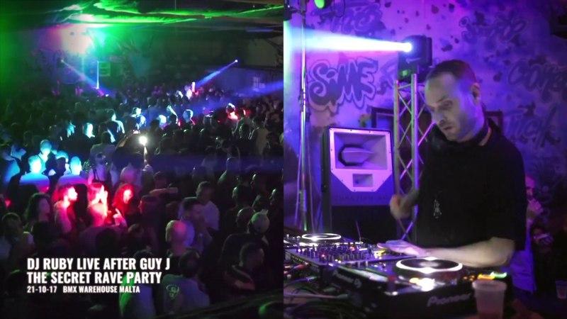 DJ Ruby - Live Video set after Guy J at The Secret Rave, BMX Warehouse Malta 21-10-17