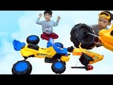 Kid on Excavator Pretend Unboxing and Assembling power wheels compilation video for children