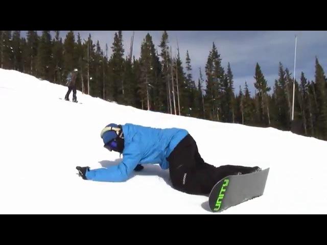 Фан карвинг на сноуборде опираясь на локоть