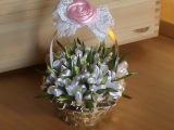 DIYМК Как сделать подарочный сувенир - корзинку с подснежниками канзаши к 8 Марта