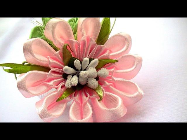 Милые Цветы Канзаши из Ленты 5 см / Ribbon Flowers How to Make / DIY Ribbon Flowers