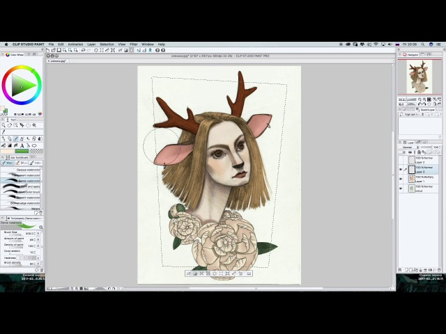 Speed Paint by Marus CLIP Studio Paint Рисунок: Девушка-олень