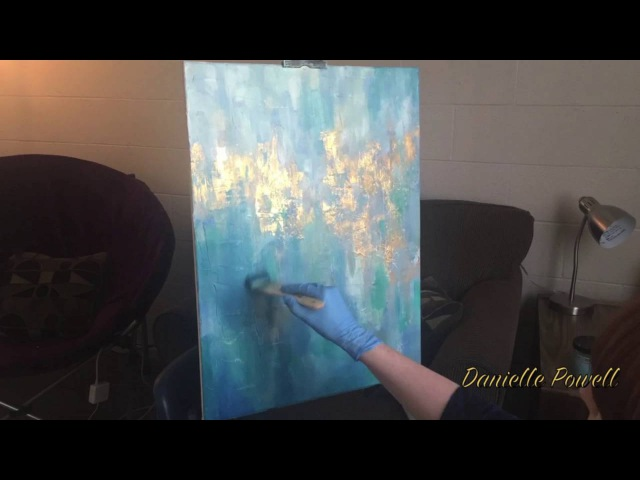 GOLD LEAF AND OIL ABSTRACT PAINTING