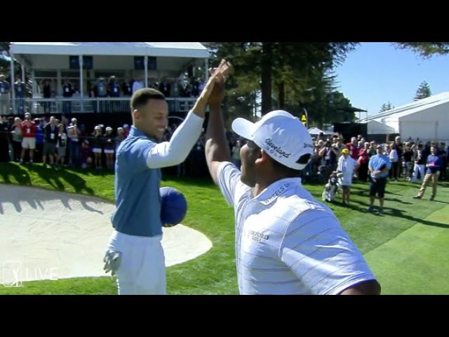 Steph Curry, Harold Varner III spur-of-the-moment shoot off at Safeway