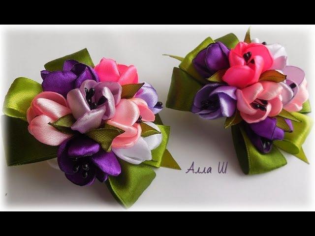 МК Бантики з весняних квітів на резинці до 8 Березня Бантики из ленточек до 8 Марта