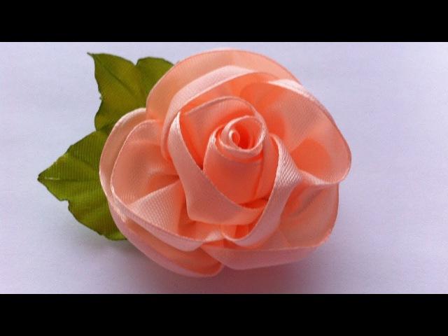 Украшение на заколку Канзаши / Персиковая Роза / Kanzashi Rose