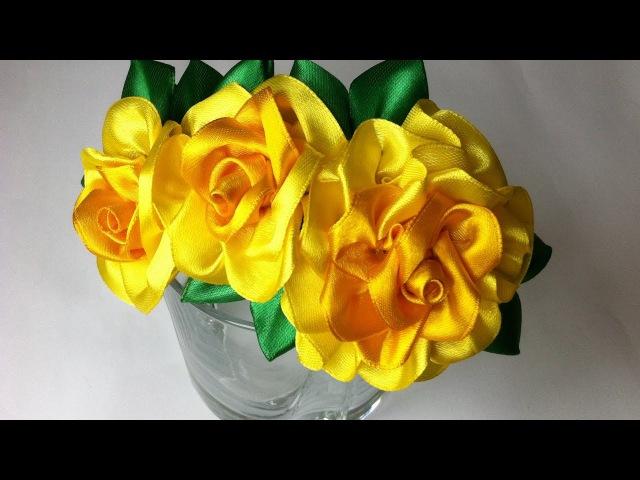 Украшение на ободок Канзаши / Лимонные розы