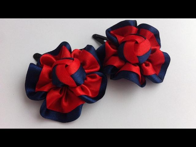 Украшение на заколку Канзаши / Красно-синий цветочек