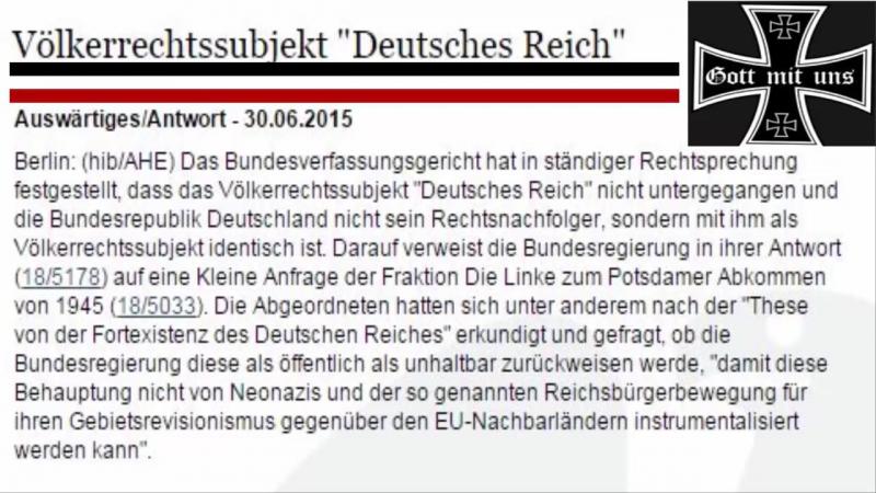 Bundesverfassungsgericht bestätigt 2015 gegen über dem Auswärtigesamt Deutsches Reich existiert