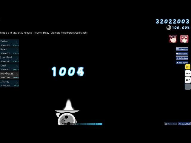 [osu!catch] b-a-d-s123 | Konuko - Toumei Elegy [Ultimate Reverberant Gonkanau] HD,PF SS 468pp 1