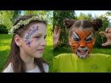 Face painting for kids. Tiger painting. FlowersАквагрим для детей. Тигр. Цветы.
