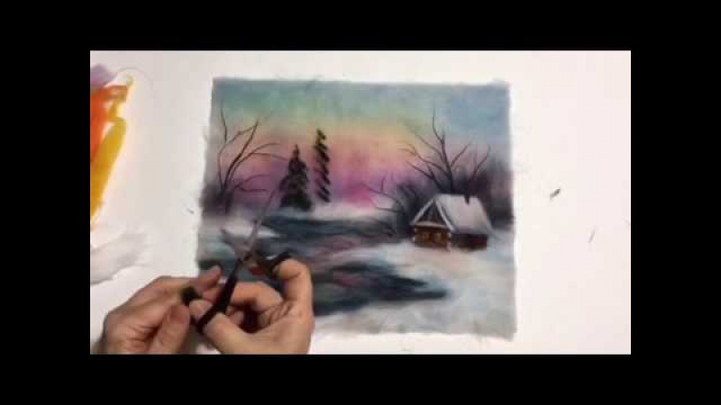 Рисуем шерстью ёлочки в зимнем пейзаже