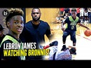 LeBron James watches Son Bronnie Play Gets TOO HYPE Blue Chips vs Team Billups