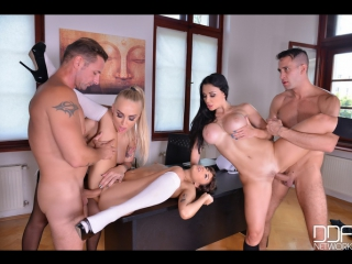 Kayla Green, Aletta Ocean - Porn orgy with teachers and students in the college after lesson