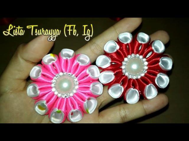 DIY Membuat bunga dari Pita Satin Kanzashi Flower 05 🌸 Lista Tsurayya Tutorial