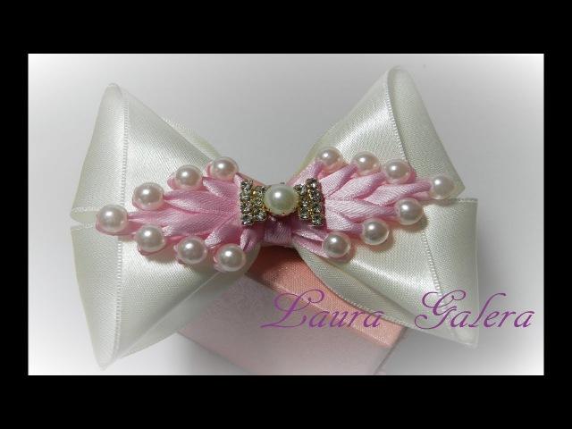 Baby bow Moño bebe con perlas Handmade Laço bebe