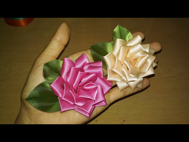 DIY || Membuat Bunga Mawar Satin Pita/ Ribbon Flower rose 01 🌸 - Lista Tsurayya Tutorial
