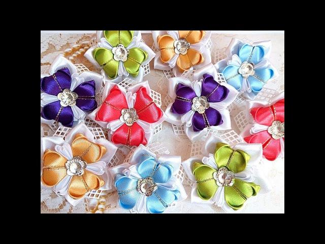 Нарядные резинки бантики из лент канзаши МК hair clips ribbon kanzashi DIY
