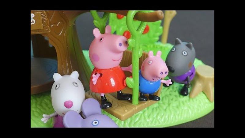 Peppa Pig español. Peppa, George y sus amigos van a visitar YooHoo. George ayuda a poner columpio