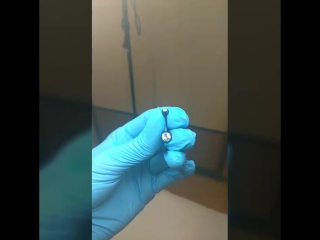 Титановый банан Crystal clear (прозрачный кристалл) анодированый в Dark blue.