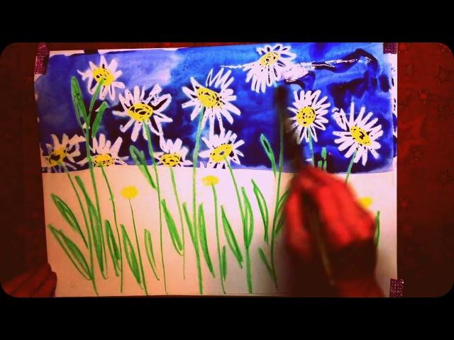 Рисование с детьми.Ромашки акварелью и восковыми мелками.