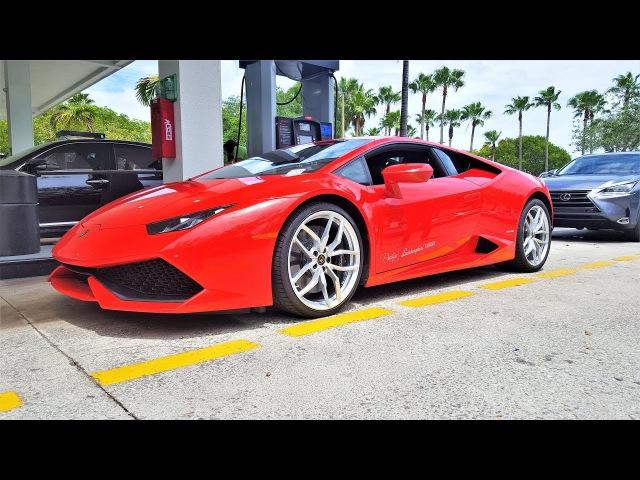 Lamborghini Huracan Start Up Revs ANGRY BULL Ride Acceleration Downshift Sound at Lamborghini Miami