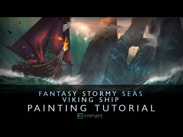 Stormy Sea Viking Ship Digital Painting Tutorial Concept Art