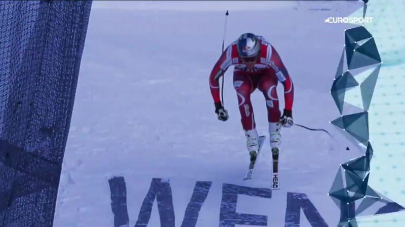 Perfect jump with Svindal.