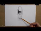 3д рисунок шара на бумаге _ 3D drawing of ball