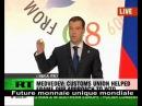 Dimitri Medvedev au G8 du 10 juillet 2009 en Italie sur Russia Today sur la monnaie mondiale