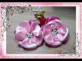 Цветок из ленты 5см. Резиночки Канзаши для начинающих. A delicate flower. Kanzashi.