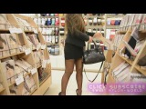 Hot Young teen milf in skirt and nylon pantyhose tights in heels walking shoping