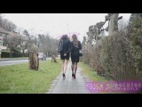 Two hot teen milf walking on street in skirt and nylon pantyhose with heels on