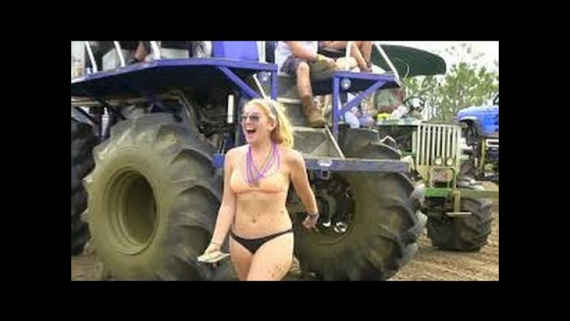 Amazing Girls Driving Tractor in Mud Funny Crazy Skill Driving