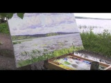 Художник Артём Пучков, рисуем маслом на этюде Плещеево озеро. Переславль