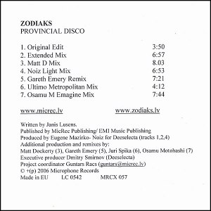 Zodiac альбом Provincial Disco (Remixes)