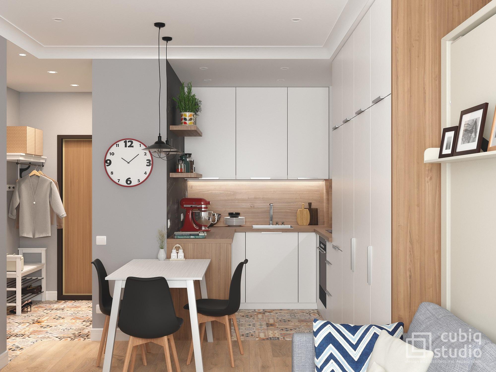 Проект однокомнатной квартиры общей площадью 35 кв м для семьи с двумя детьми.