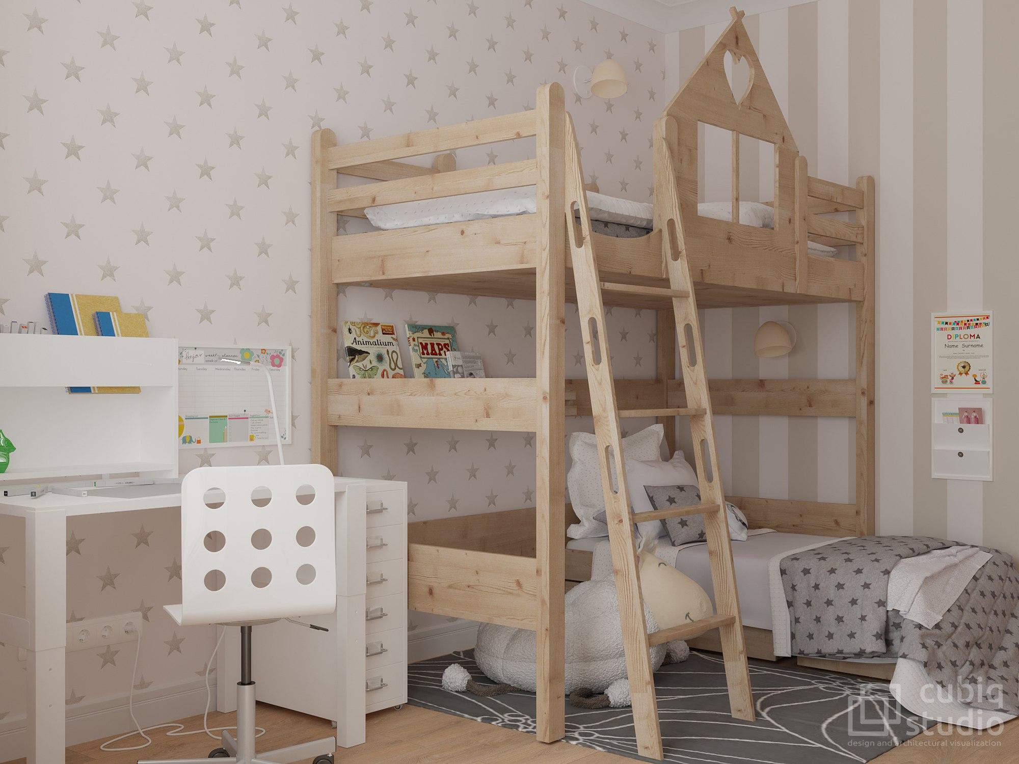 Продолжение проекта квартиры 35 м с кухней-гостиной-спальней и отдельной детской.