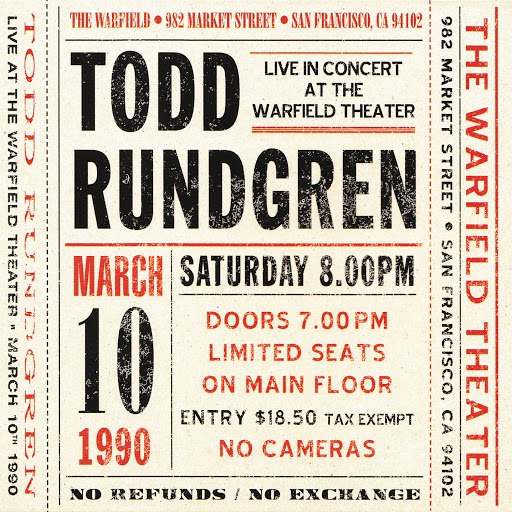 Todd Rundgren альбом Live at The Warfield Theater, San Francisco: March 10th 1990 - Live