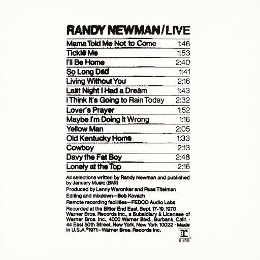 Randy Newman альбом Randy Newman / Live