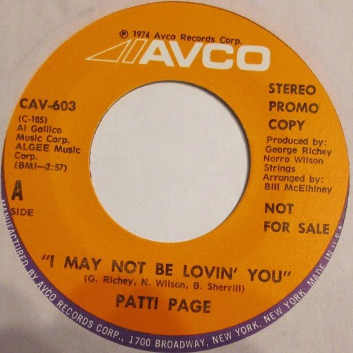 Patti Page альбом I May Not Be Lovin' You / Whoever Finds This I Love You