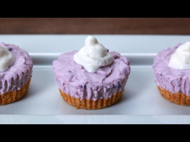 Mini No-Bake Ube Cheesecakes