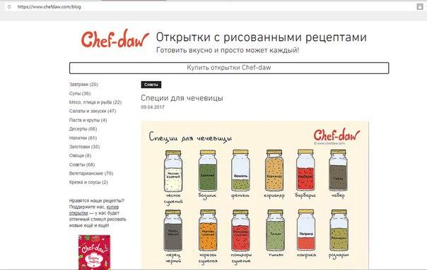 Блог рецептов Chef-daw на нашем сайте