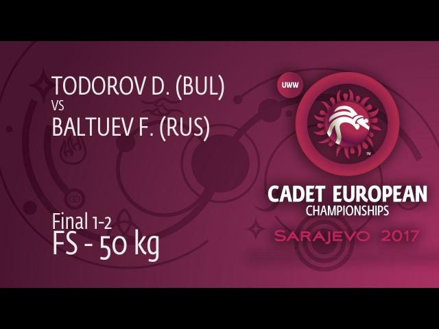 GOLD FS - 50 kg: F. BALTUEV (RUS) df. D. TODOROV (BUL) by VPO, 2-0